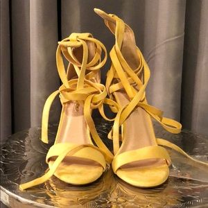 Yellow lace up strappy heels sandals